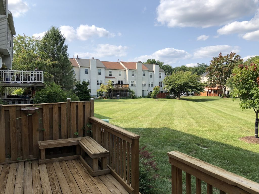 Green space off back deck in College Square townhomes